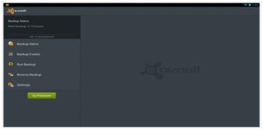 Avast backup UI