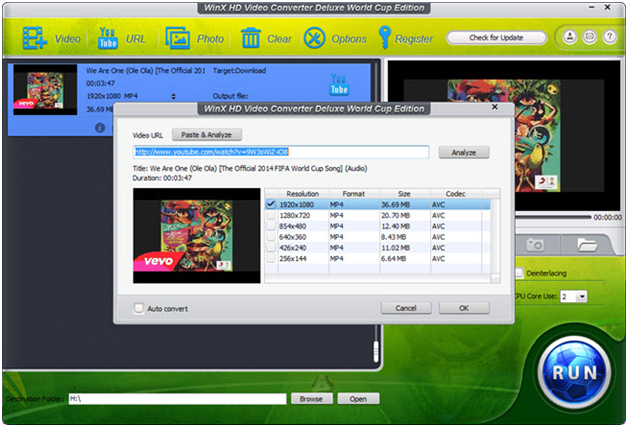 WinX HD Video Converter world cup edition