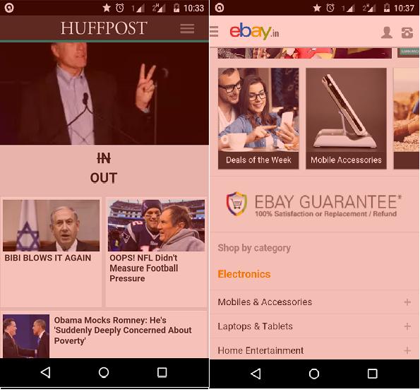 HuffPost and Ebay Mobile Website