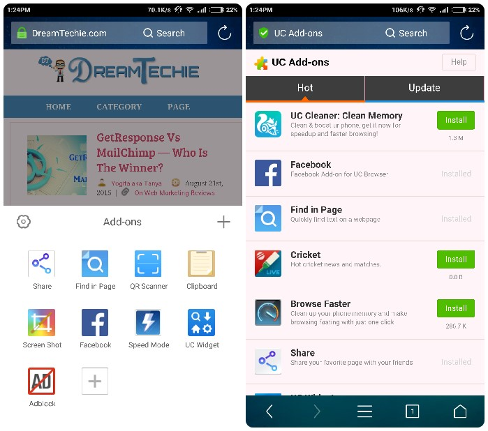 UC Browser AddOn Options 10.7
