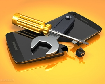 3d illustration of a wrench and screwdriver lying on top of a black smartphone over a bright orange surface